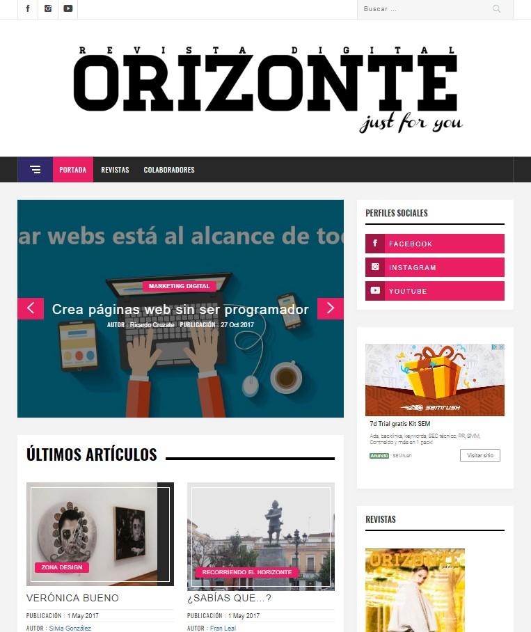 Diseño web y programación de módulos WordPress para la Revista Orizonte