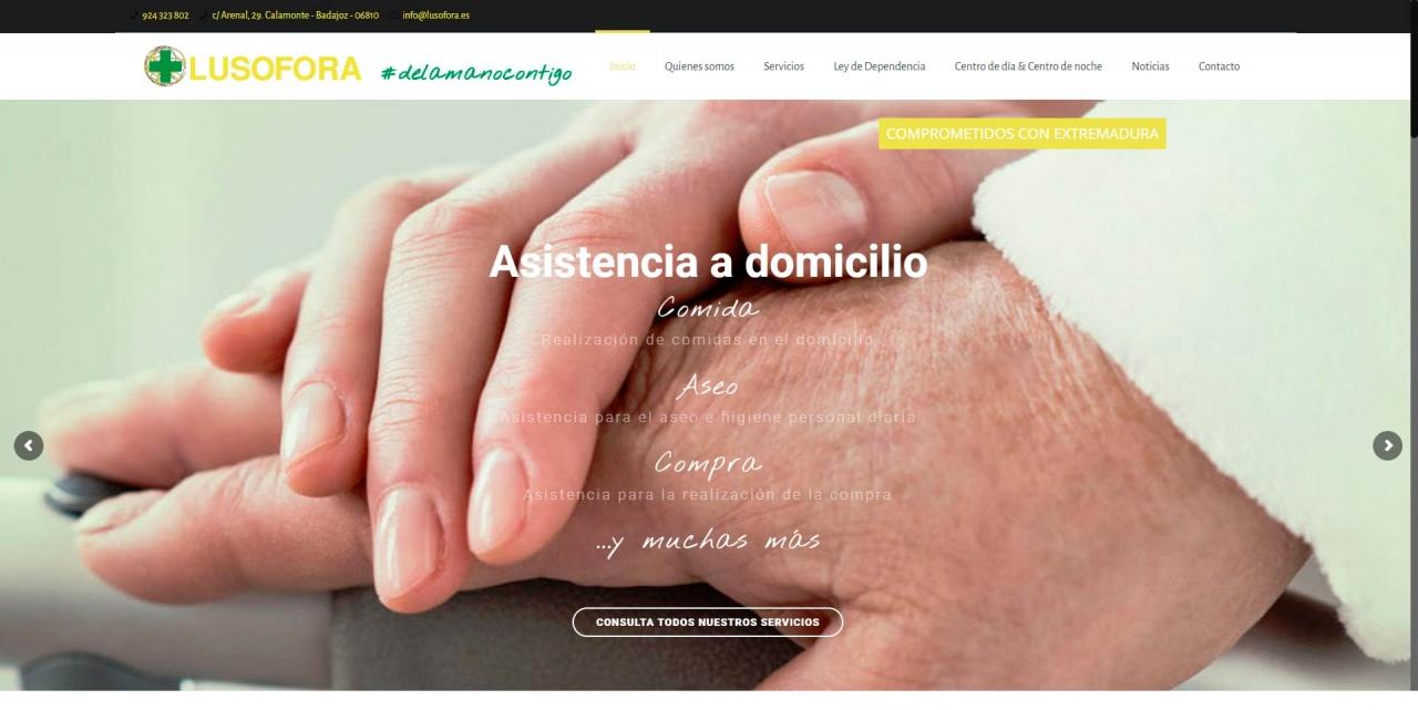 Web para empresa de servicios asistenciales