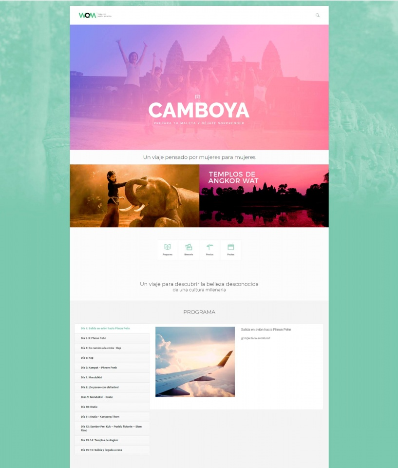 Landing page para promoción de viaje