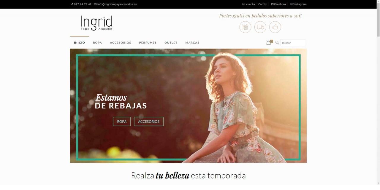 Web para tienda de moda de mujer