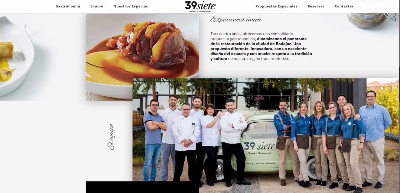 Página Web del restaurante 39siete