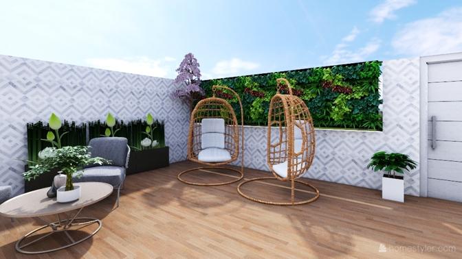 Diseño patio vivienda unifamiliar
