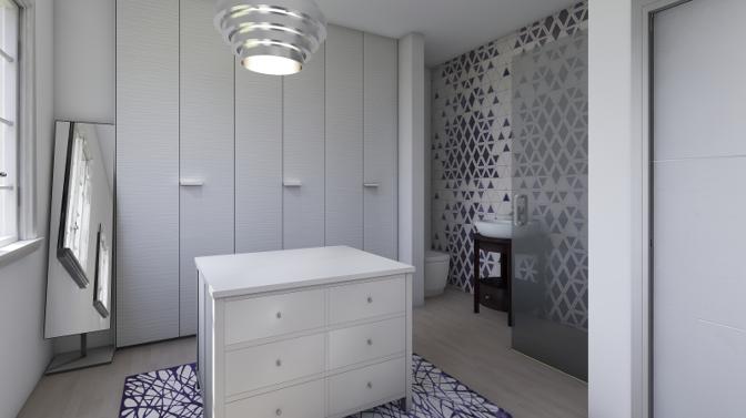 Diseño baño integrado en vestidor