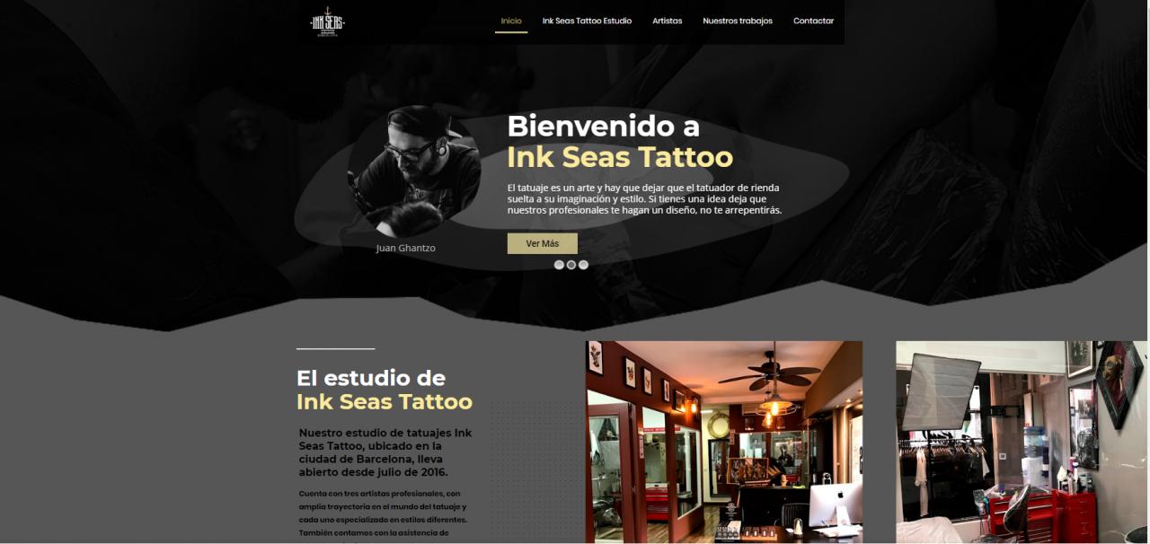 Página Web del estudio de tatuajes InkSeasTattoo de Barcelona
