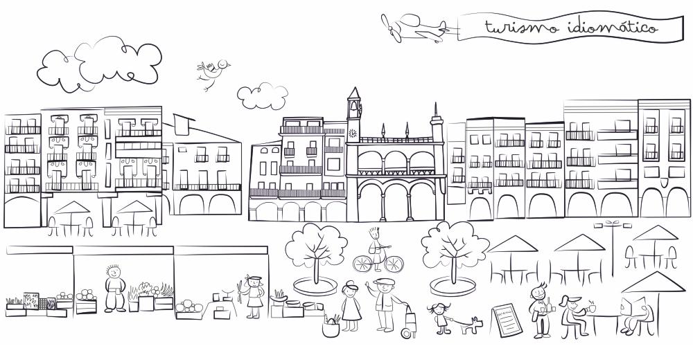 Ilustración para web turismo idiomático