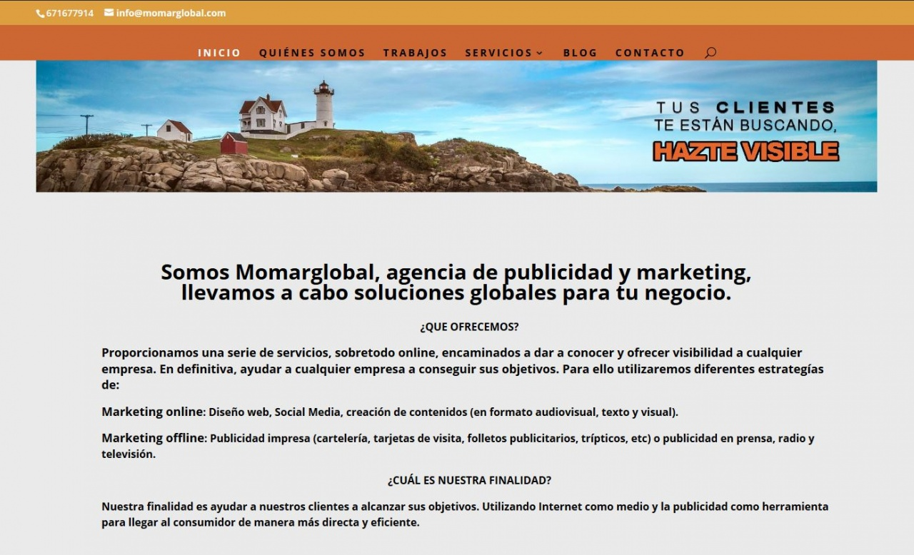 Web de agencia de publicidad y marketing. HTML5, CSS y PHP