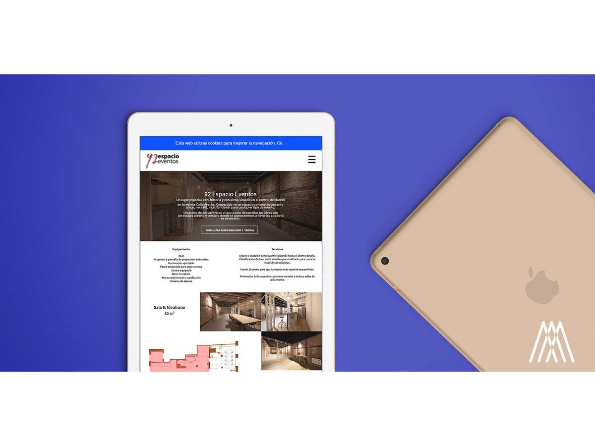 Diseño Web Corporativo para la marca madrileña de organización de eventos, 92 Eventos