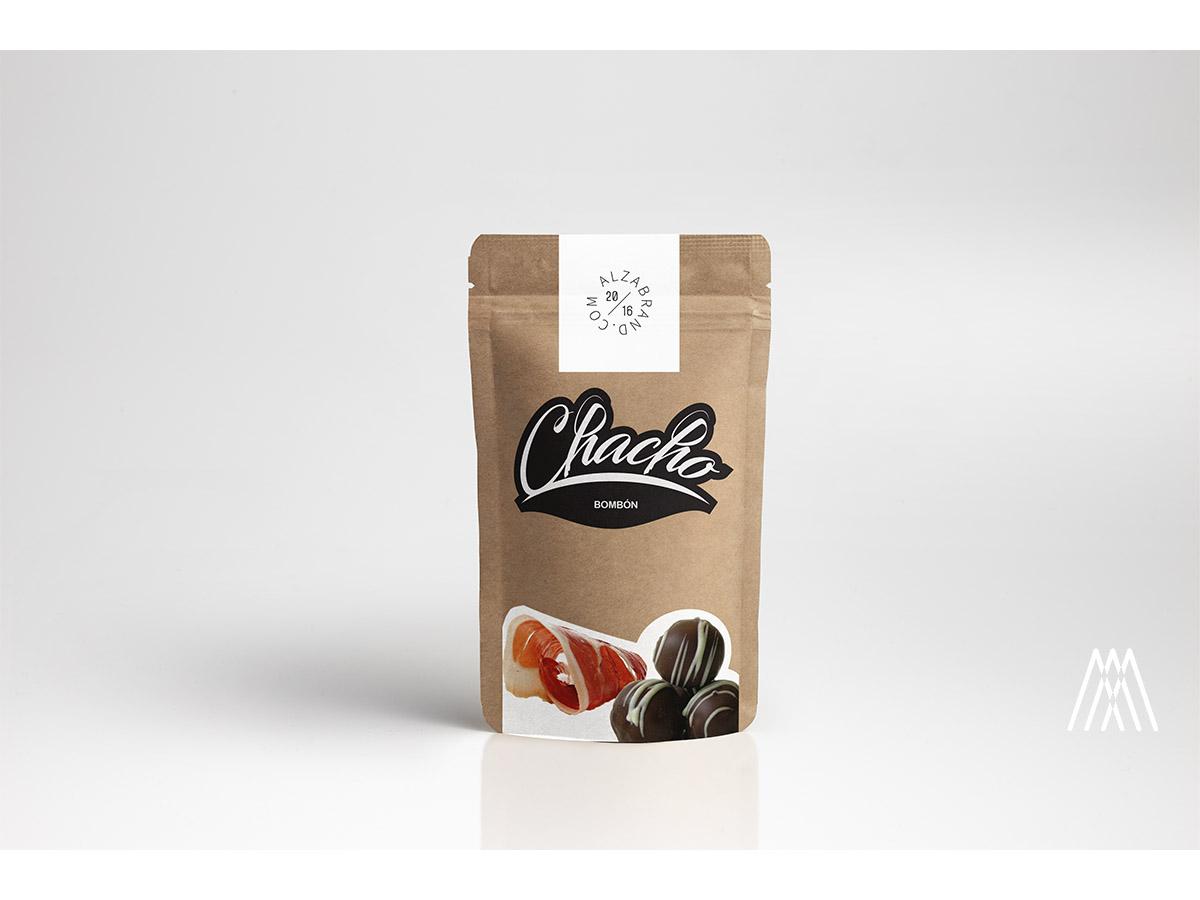Packaging prototipado para los Chachos, bombones de jamón elaborados por Casa Fuentes y CTAEX.