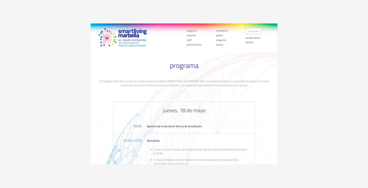Diseño web evento Colegio Telecos